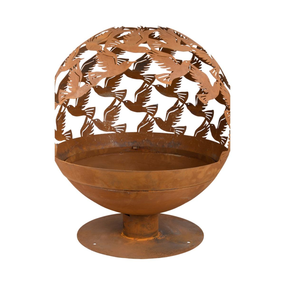 Vuurkorf type vuurbal design vogels - roest